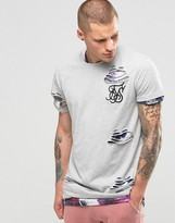 SikSilk Distressed T-Shirt With Double Layer