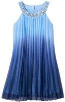 Speechless Girls 7-16 Rhinestone Glitter Ombre Pleated Popover Dress