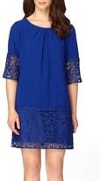 Tahari Crepe & Lace Shift Dress