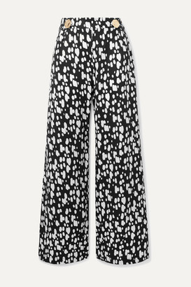 Mother of Pearl Net Sustain Embellished Printed Lyocell Wide-leg Pants - Black
