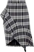 River Island Womens Navy check asymmetric frill pencil skirt