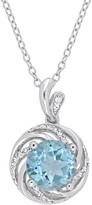 Sterling Silver Blue Topaz & Diamond Accent Swirl Pendant Necklace