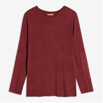 Joe Fresh Women's Contrast Sleeve Tee, Dark Red (Size L)
