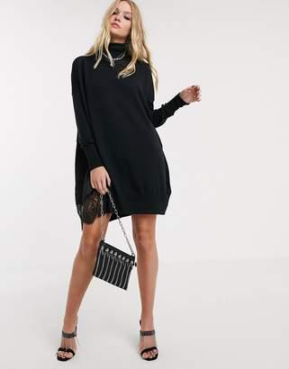 AllSaints paola jumper mini dress with lace trim-Black