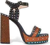 Lanvin Embellished glittered leather platform sandals