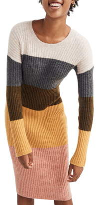 Madewell Colorblock Long Sleeve Sweater Dress