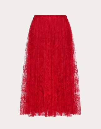 Valentino Pleated Chantilly Lace Skirt Women Red 75% Poliammide, 25% Cotone 46