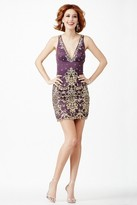 Jovani Graceful Evening Mini Dress in Plunging V-Neckline JVN27622