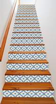 Dutch Tile Vine RiserArt x 11 Painted Stairway Decoration Adhesive Vinyl Stair Riser Panels Easy To Install and Removable
