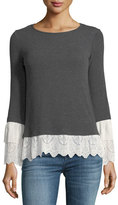 Bailey 44 Fairy Godmother Long-Sleeve Top w/ Lace Trim