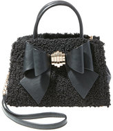 Betsey Johnson Bow You See It Fuzzy Removable Bow Satchel