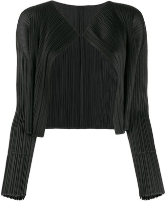 Pleats Please Issey Miyake cropped micro-pleated jacket