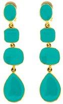 Kenneth Jay Lane Gold & Turquoise Blue Enamel Drop Clip On Earrings