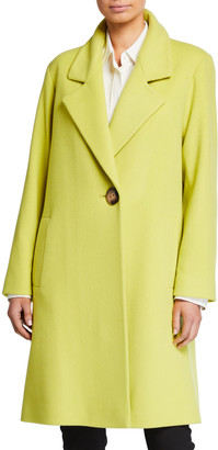 Fleurette One-Button Long Wool Coat