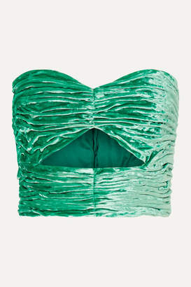 ATTICO Cutout Ruched Stretch-velvet Bustier Top - Green