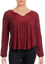 Jessica Simpson Plus Frida Crochet Split-Sleeve Top