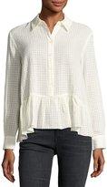 The Great The Ruffle Flounce-Hem Oxford Shirt, Cream