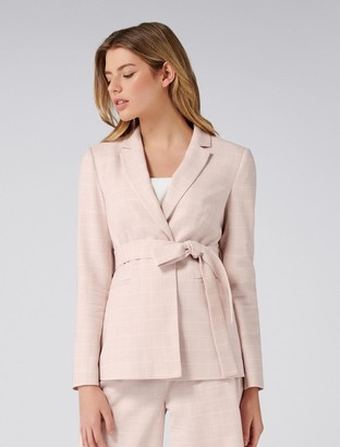 Forever New Becca Petite Wrap Blazer - Blush Check - 12
