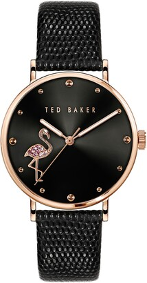 Ted Baker Ted Bake London Phylipa Crystal Flamingo Leather Strap Watch, 37mm