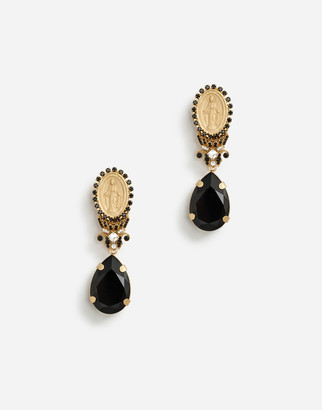 Dolce & Gabbana Pendant Earrings With Votive Decorations And Rhinestones