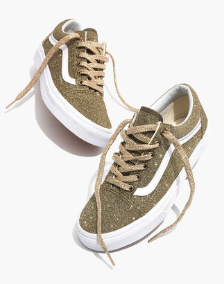 Madewell Vans Unisex Old Skool Lace-Up Sneakers in Gold Glitter