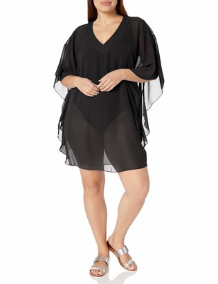 Maxine Of Hollywood Women's Plus Size Solid Colored Chiffon Caftan Swimsuir Cover up