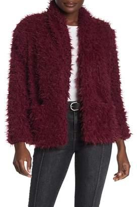 Love, Fire Faux Fur Shawl Collar Jacket