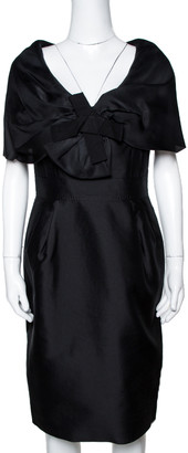 Carolina Herrera Black Silk Draped Collar Bow Detail Dress M