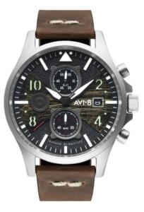 AVI-8 Men's Hawker Hurricane Chronograph Bulman Edition Brown Genuine Leather Strap Watch 45mm
