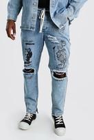 boohoo Mens Grey Big And Tall Graffiti Print Skinny Jean, Grey
