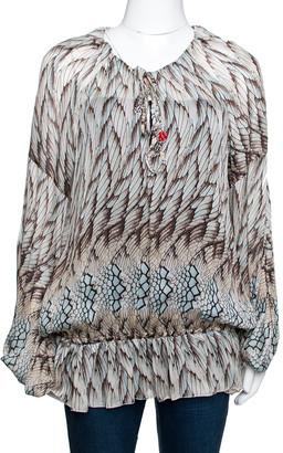 Roberto Cavalli Multicolor Feather Printed Silk Gypsy Blouse L