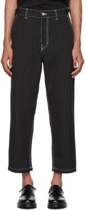 Ami Alexandre Mattiussi Black and White Striped Worker Trousers