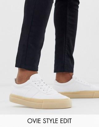 Asos Design DESIGN trainers in white canvas with gum sole