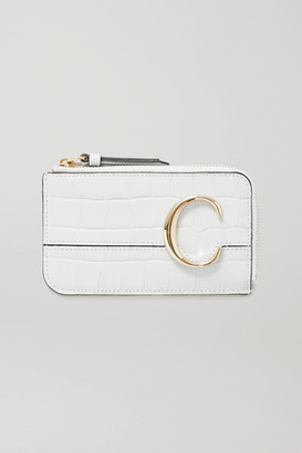Chloé C Croc-effect Leather Cardholder - Light gray