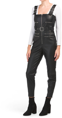 Faux Leather Moto Overalls
