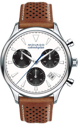 Movado 43mm Heritage Calendoplan Chronograph Watch with Perforated Leather Strap