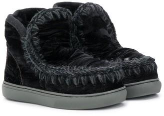 Mou Kids velvet eskimo boots