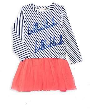 Billieblush Little Girl's Long-Sleeve Striped Tulle Dress