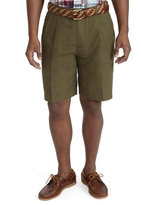 Brooks Brothers Pleat-Front Linen Cotton Shorts