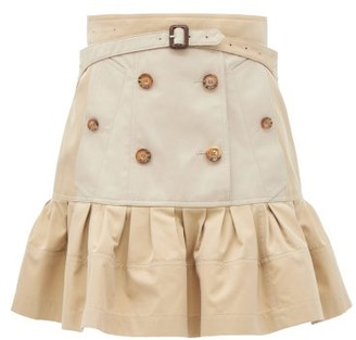Burberry Suzy Peplum-hem Cotton-gabardine Mini Skirt - Beige