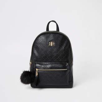 River Island Girls black RI monogram backpack