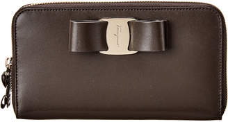 Salvatore Ferragamo Vara Bow Leather Zip Around Wallet