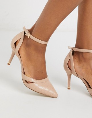 Carvela krisskross pointed mid heel shoes in beige with ankle strap