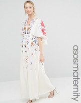 Asos Kimono Maxi Dress With Embroidery