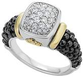 Lagos 18K Gold and Sterling Silver Black Caviar Ring with Diamonds