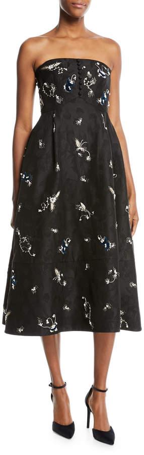 Erdem Yahia Strapless Midi Dress