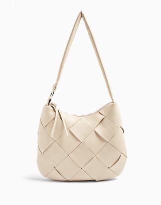 Topshop weave detail hobo bag in stone
