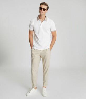 Reiss Filipo - Contrast Collar Polo Shirt in Ecru