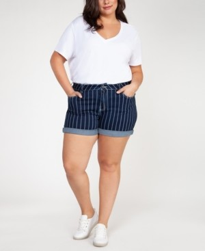 Black Tape Plus Size Striped Denim Shorts