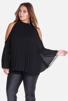 Fashion to Figure Martina Pleated Cold Shoulder Blouse